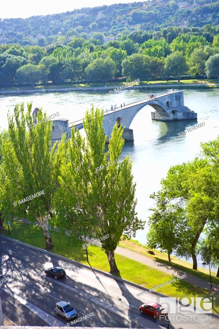 Stock Photo: Pont Saint-Benezet in Avignon, Provence-Alpes-Cote d'Azur, France.