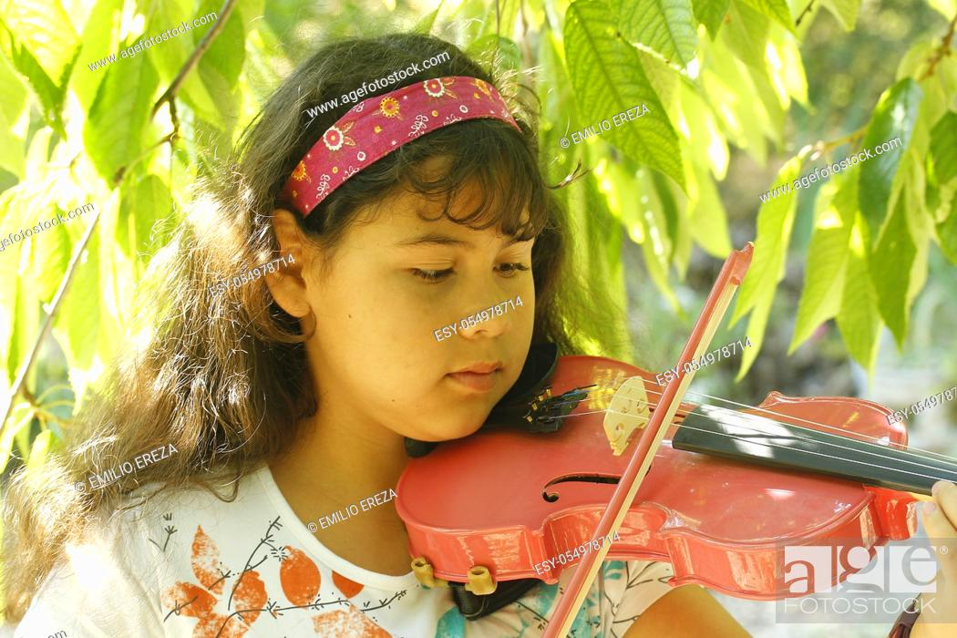 Stock Photo: Playing the violin.