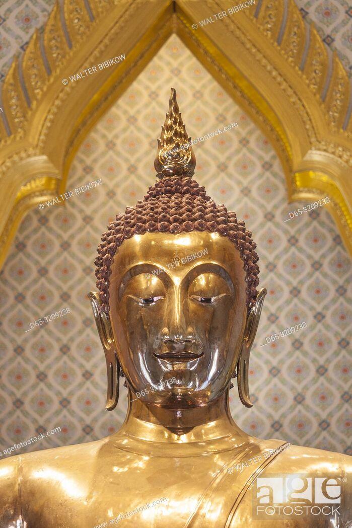 Stock Photo: Thailand, Bangkok, Chinatown, Wat Traimit, the Golden Buddha.