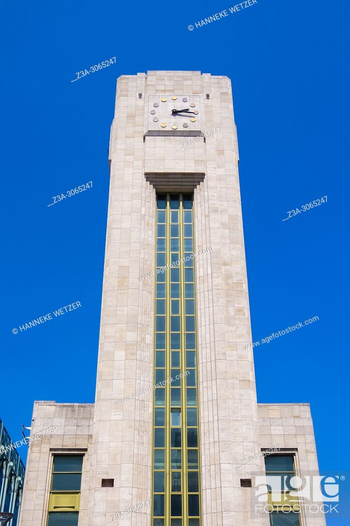 Stock Photo: Clock Tower of Gare du Nord, Brussels, Belgium, Europe.