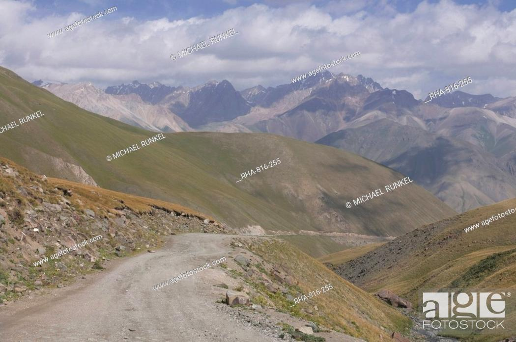 Stock Photo: Wild mountain landscape near Song Kol, Kyrgyzstan, Central Asia, Asia.