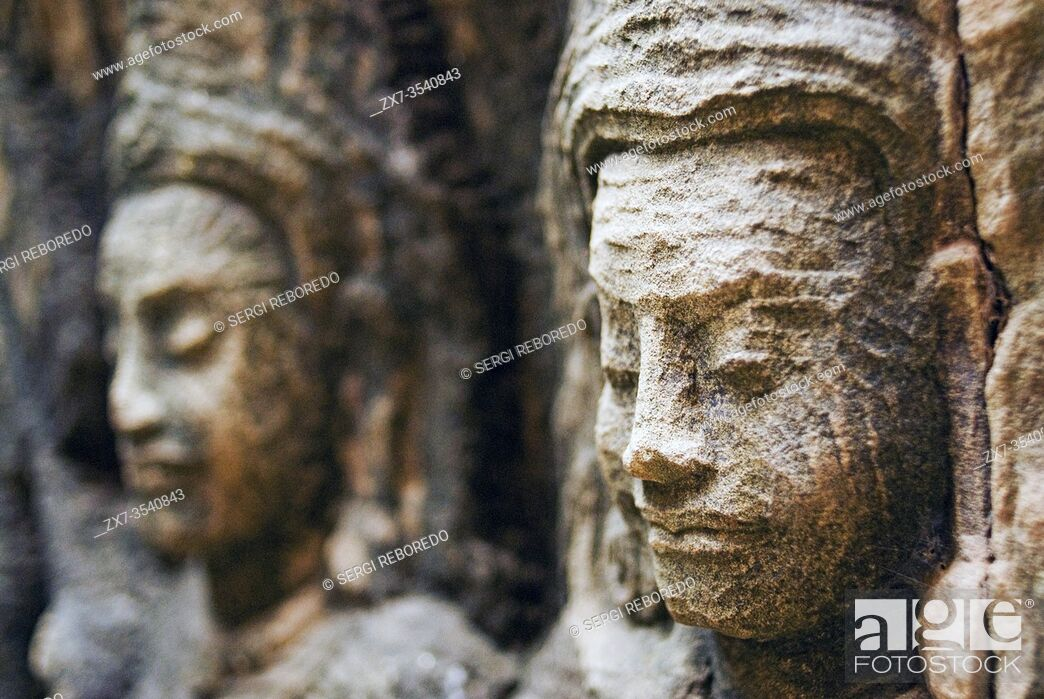 Stock Photo: Bas-relief on the terrace of Leper King. Angkor Thom. The Terrace of the Leper King (or Leper King Terrace), (Preah Learn Sdech Kunlung) is located in the.