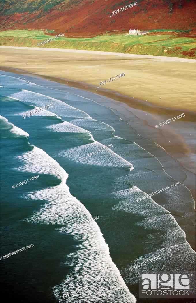 Stock Photo: Rhossili Beach and Bay on the Gower Peninsula near Swansea, West Glamorgan, south Wales, United Kingdom.