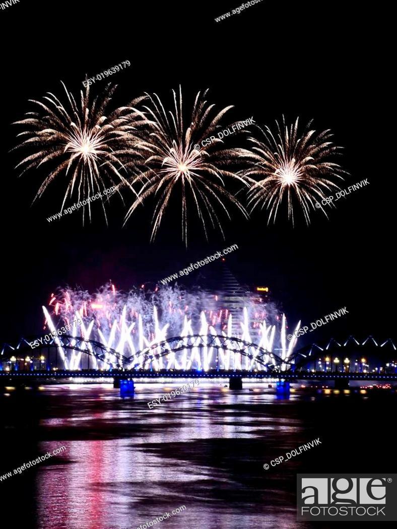 Stock Photo: Fireworks in Big Eeuropean city Riga.