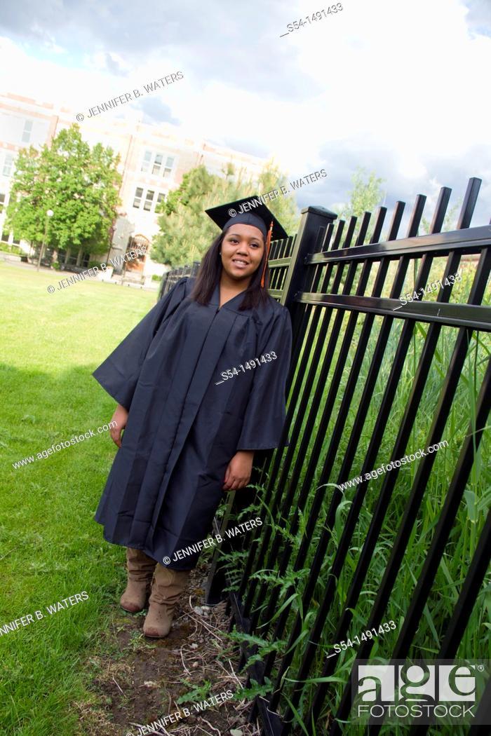 Stock Photo: A young female African-American graduate in Spokane, Washington, USA.