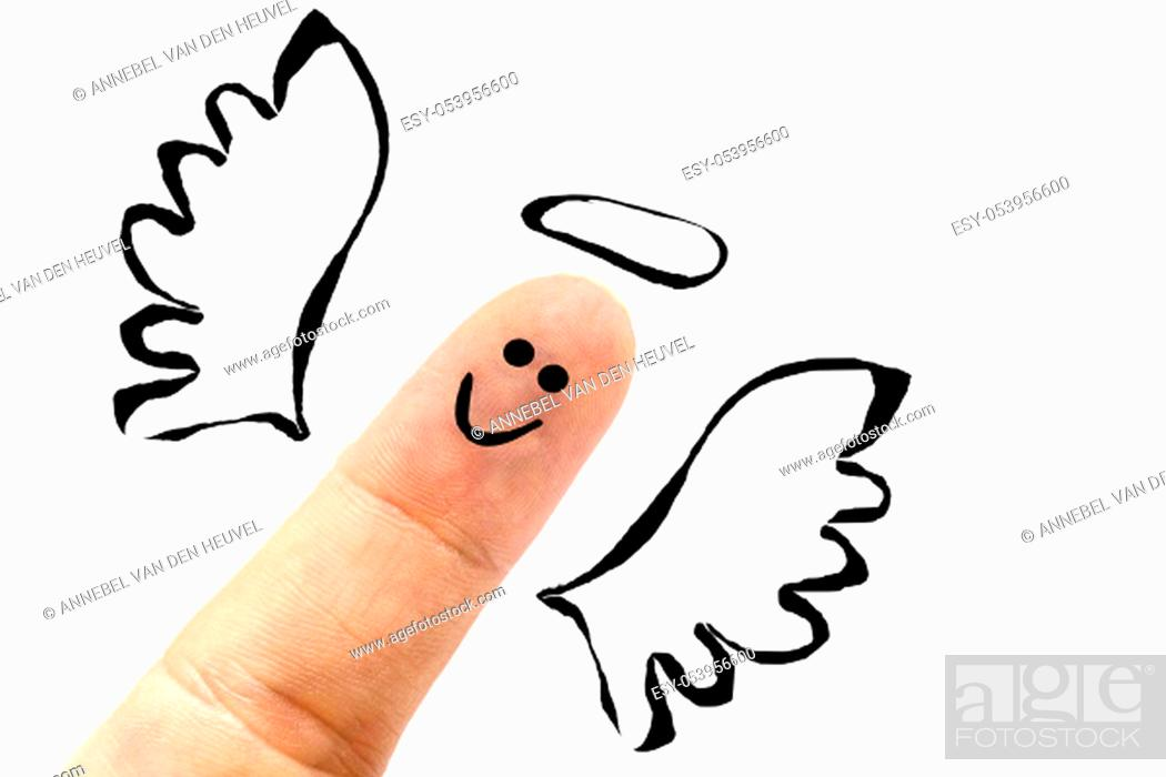 Stock Photo: Angel in heaven painted finger smiley isolated on white, believe in god closeup.
