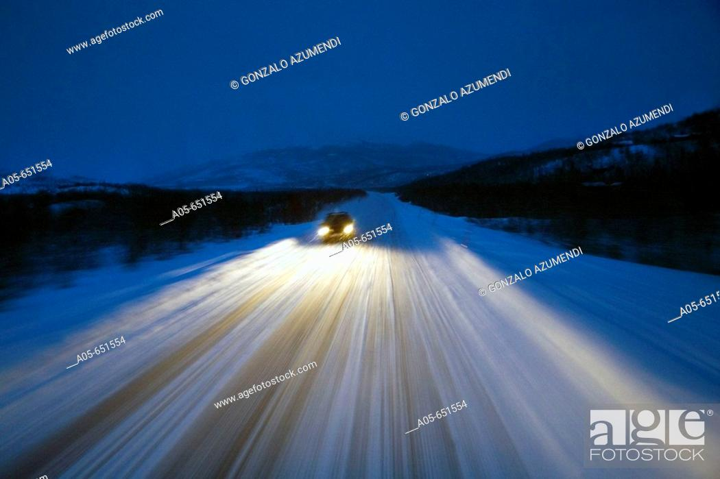 Stock Photo: Road from Alta to Nordkapp (North Cape) near Skaidi. Finnmark. Lapland. Norway.
