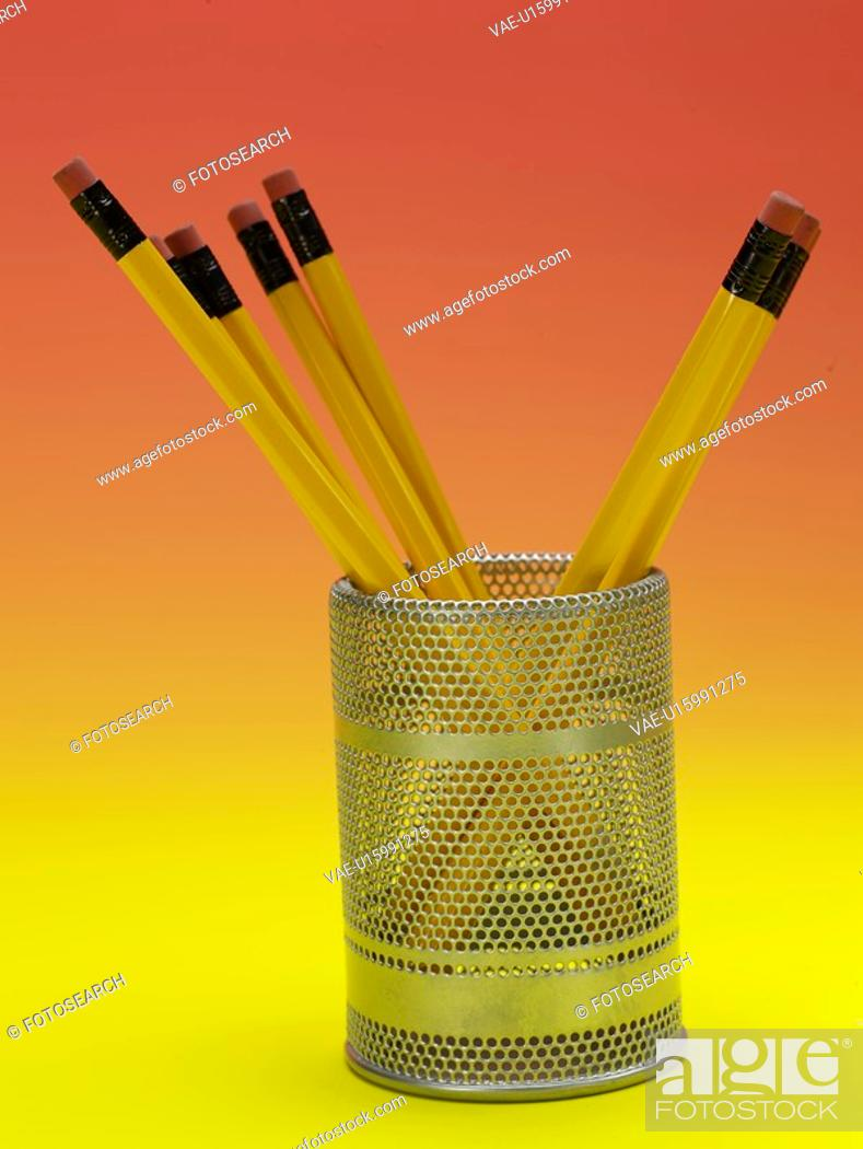 Stock Photo: writing instrument, pencil holder, school stationery, stationery, business supplies, pencil, artifact.