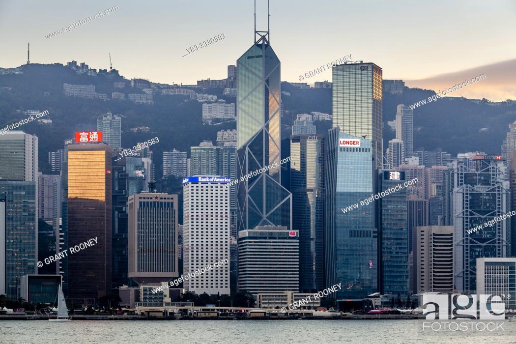 Stock Photo: A Classic Hong Kong Skyline At Sunset, Hong Kong, China.
