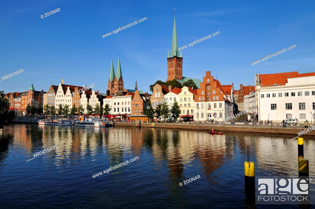 Stock Photo: Luebeck, Germany, Medieval Cityscape with Cathedral.
