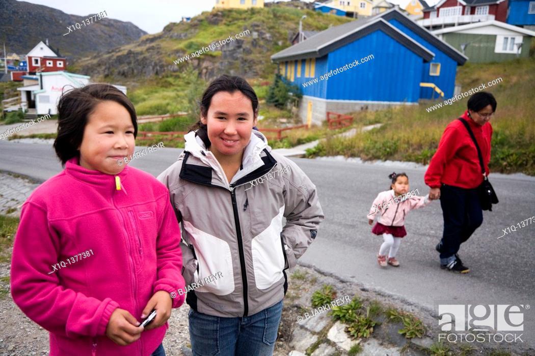 Stock Photo: Girls in Qaqortoq Julianehåb, South Greenland.