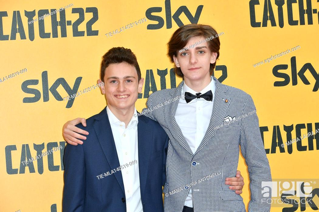 Stock Photo: Giovanni Stocchino, Domenico Cuomo during the Red carpet for the Premiere of film tv Catch-22, Rome, ITALY-13-05-2019.