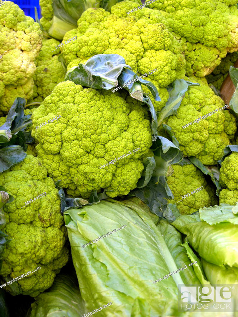 Stock Photo: Cauliflowers and lettuces for sale in market. Camprodon. Girona province, Catalonia. Spain.