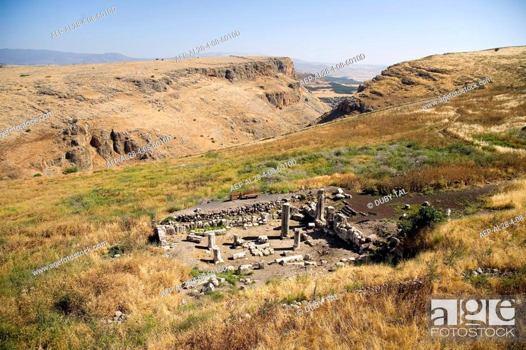 Stock Photo: Aerial photograph of an ancient synagogue of Arbel in the Sea of Galilee.