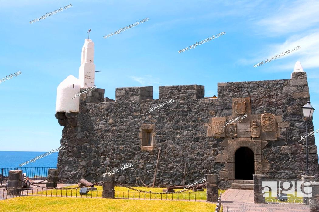 Stock Photo: Spain - Canary Islands - Tenerife - Isla Baja Region - Garachico - Castillo de San Miguel.