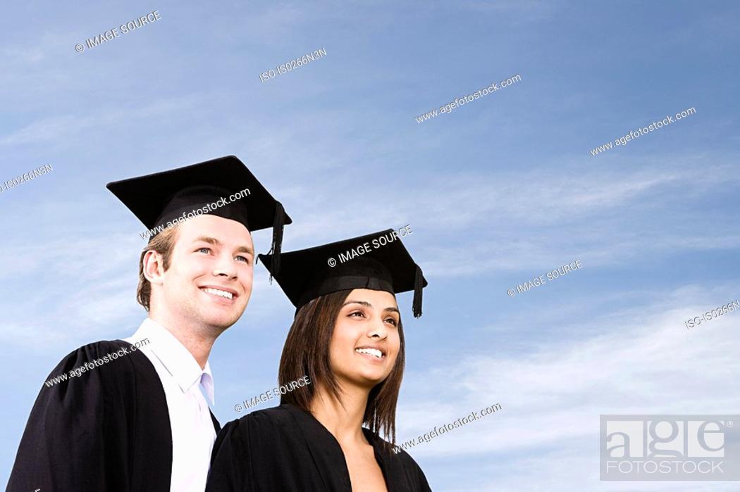 Stock Photo: Graduating students.