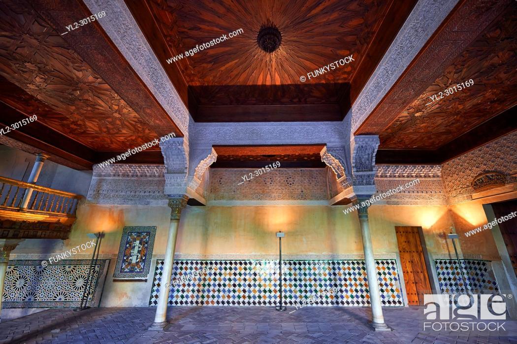 Stock Photo: Arabesque Moorish architecture of the Mexuar administrative rooms in the Palacios Nazaries. Alhambra, Granada, Andalusia, Spain.