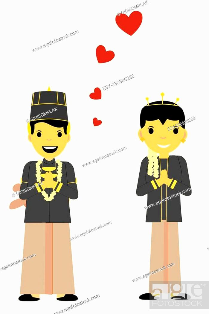Stock Vector: vector One Bride Couple - Central Java.