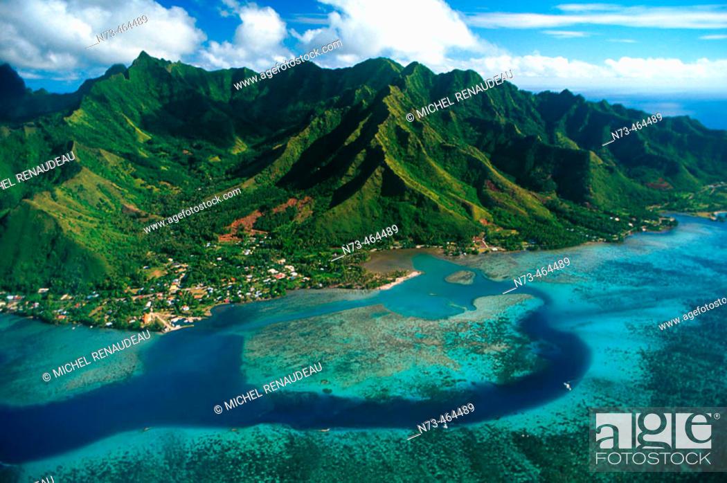 Stock Photo: Moorea Island, aerial view. French Polynesia.