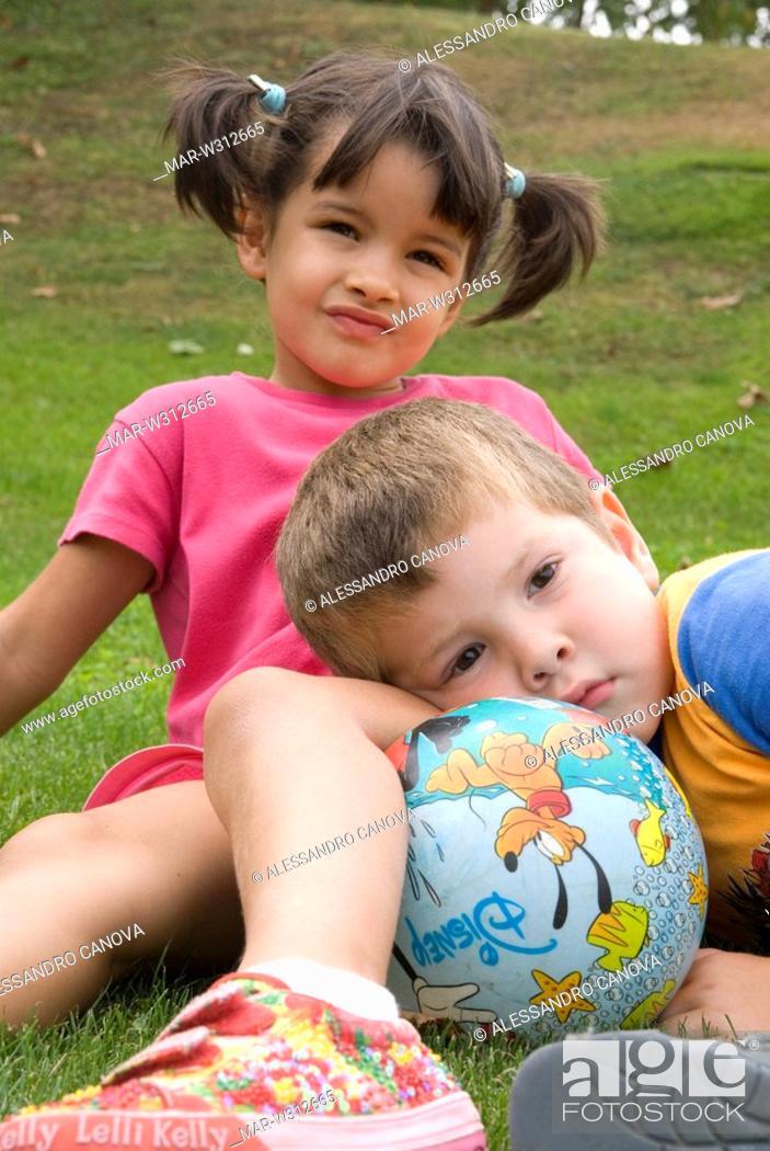 Stock Photo: children with ball.