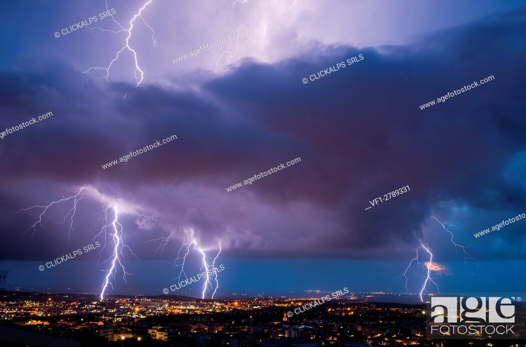 Stock Photo: Lightning on Sassari city, Sassari province, sardinia, italy, europe.