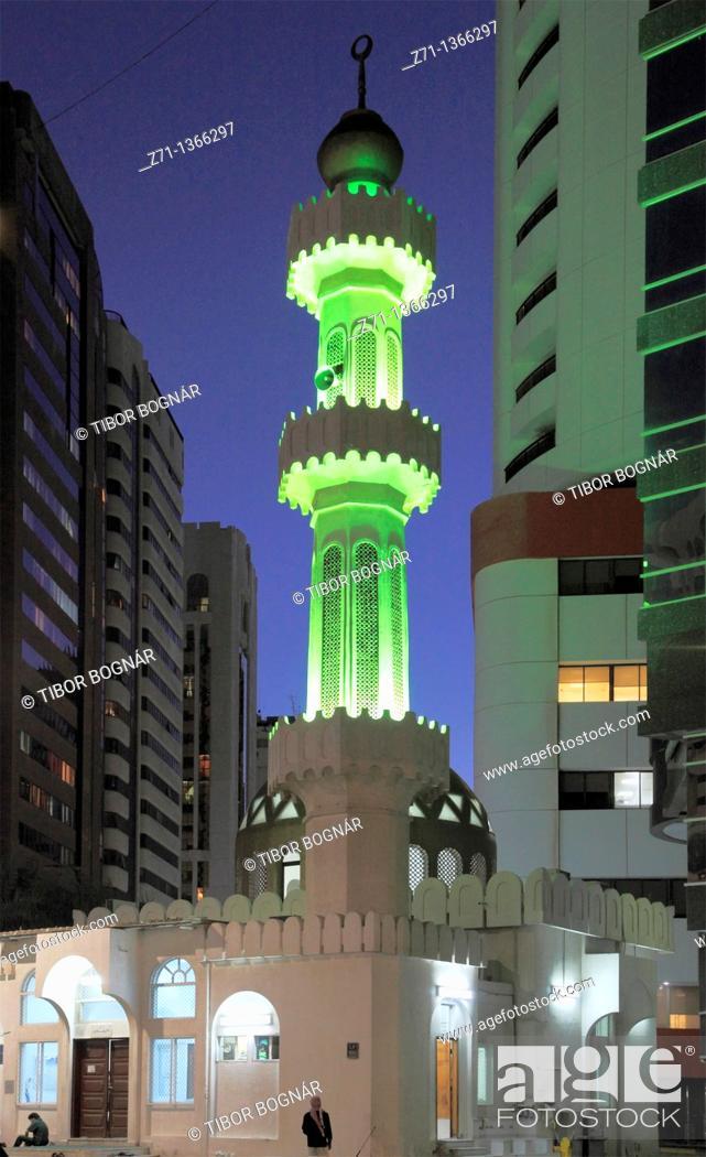 Stock Photo: United Arab Emirates, Abu Dhabi, mosque, modern buildings,.