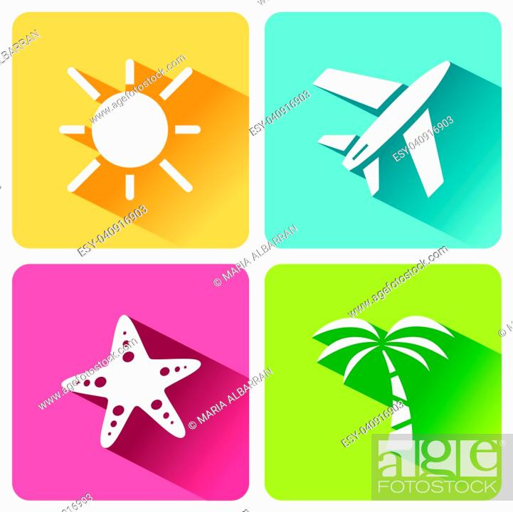 Vector: Four summer and tourism icons set with shade. Second group. Vector illustration.