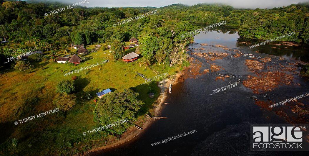 "Stock Photo: Touristic resort. """"Saut Athanase"""" on the Approuague river. Dry season. French Guiana."
