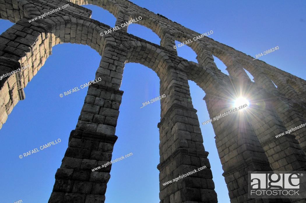 Stock Photo: The Roman Aqueduct, 1st century BC. Castilla León. Segovia, Spain.