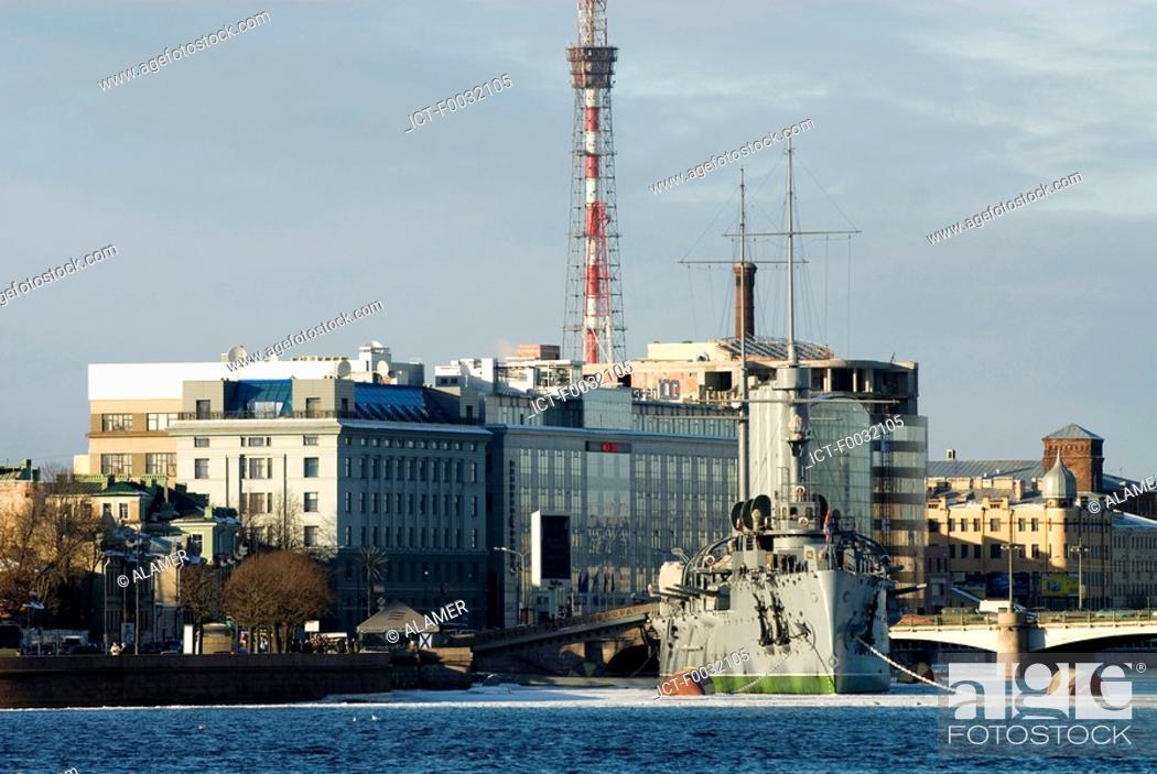 Stock Photo: Russia, St Petersburg, russian cruiser Aurora.