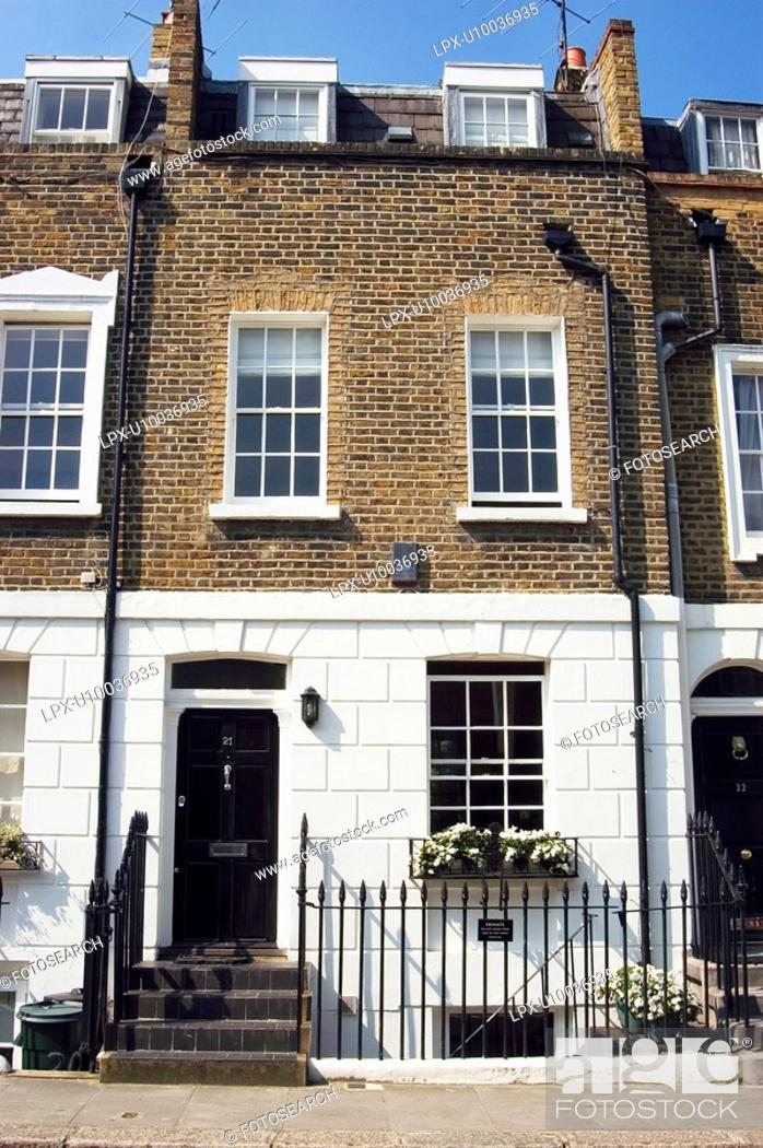 Stock Photo: Front facade of a terrace property in West London.
