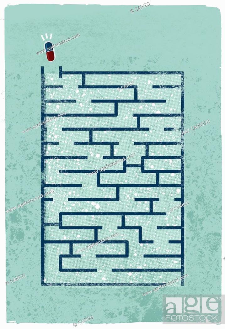 Stock Photo: A capsule about to go through a maze.
