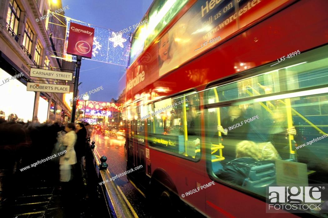 Stock Photo: Bus in Regent Street at Christmas time, London, England.