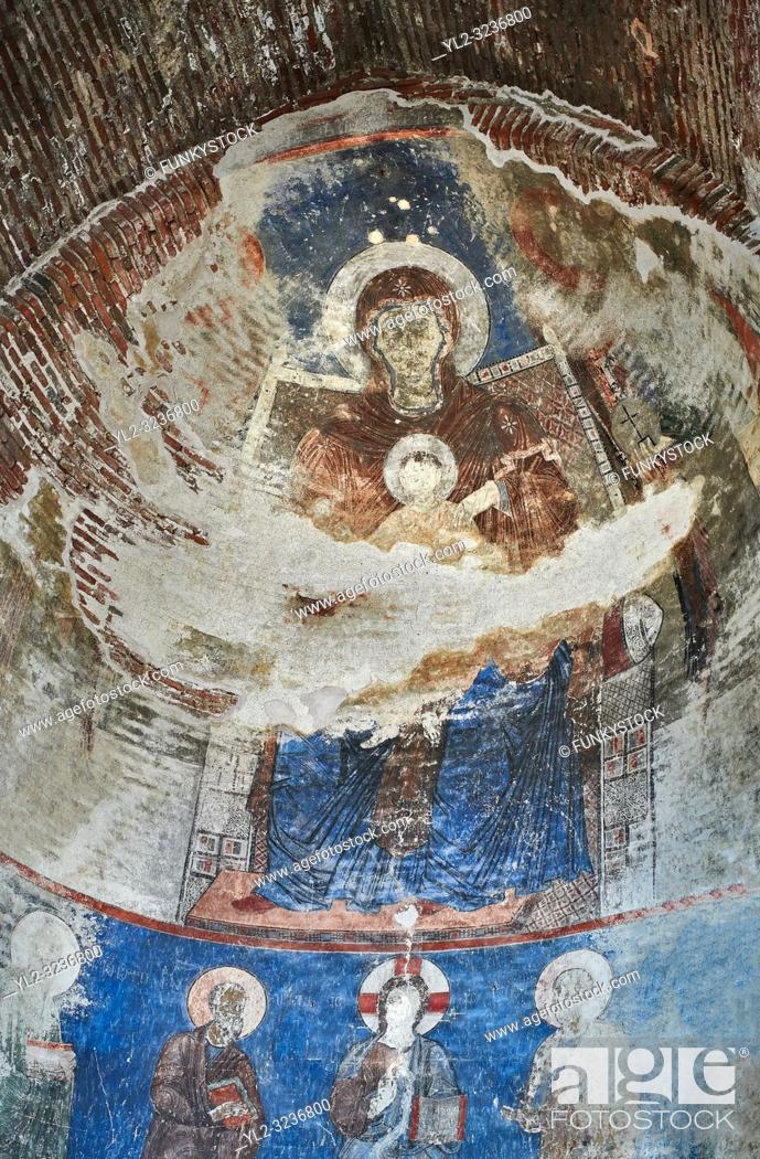 Stock Photo: Pictures & imagse of the interior frescoes depicting the Virgin and Child in the Timotesubani medieval Orthodox monastery Church of the Holy Dormition.
