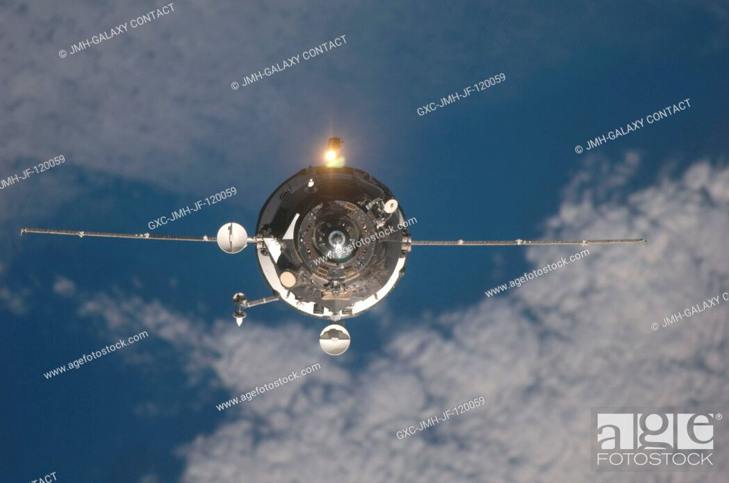 Stock Photo: An unpiloted ISS Progress resupply vehicle approaches the International Space Station, bringing 1, 918 pounds of propellant, 110 pounds of oxygen and air.