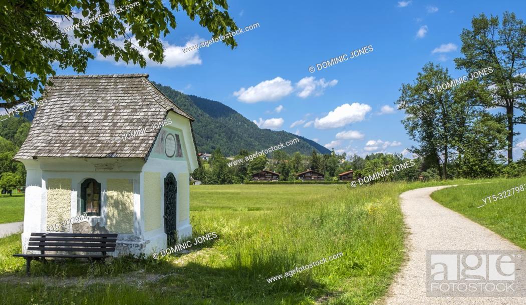 Stock Photo: Wayside shrine in the Bavarian countryside, Ruhpolding, Upper Bavaria, Germany, Europe.
