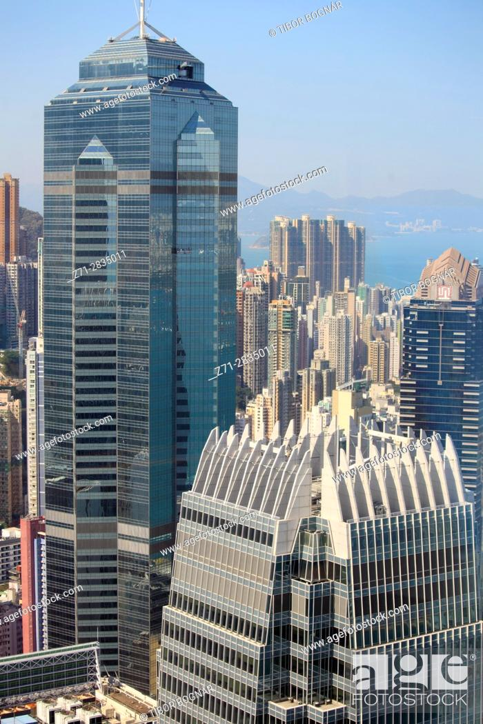 Stock Photo: China, Hong Kong, Central district, skyline, skyscrapers, aerial view,.