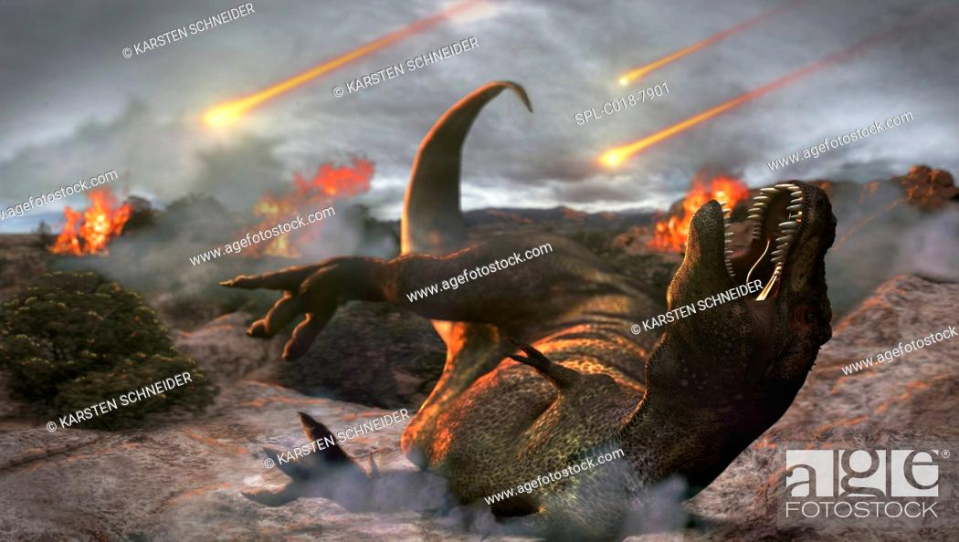 Imagen: Extinction of the dinosaurs, artwork. Asteroids impacting around a T rex dinosaur. It is thought that an asteroid that impacted Earth around 65 million years.