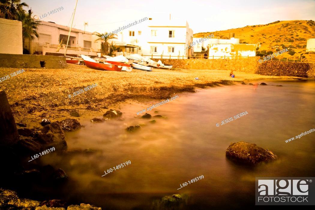 Stock Photo: Beach in Isleta del Moro, Cabo de Gata, Almeria.