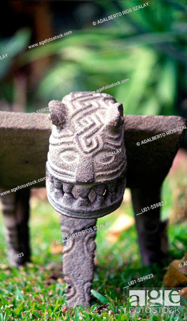 Stock Photo: PreColumbian Grinding Stone Costa Rica.