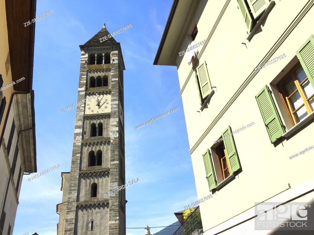 Stock Photo: Italy, Lombardy, Valtellina, Tirano, Church of San Martino, Belfry.