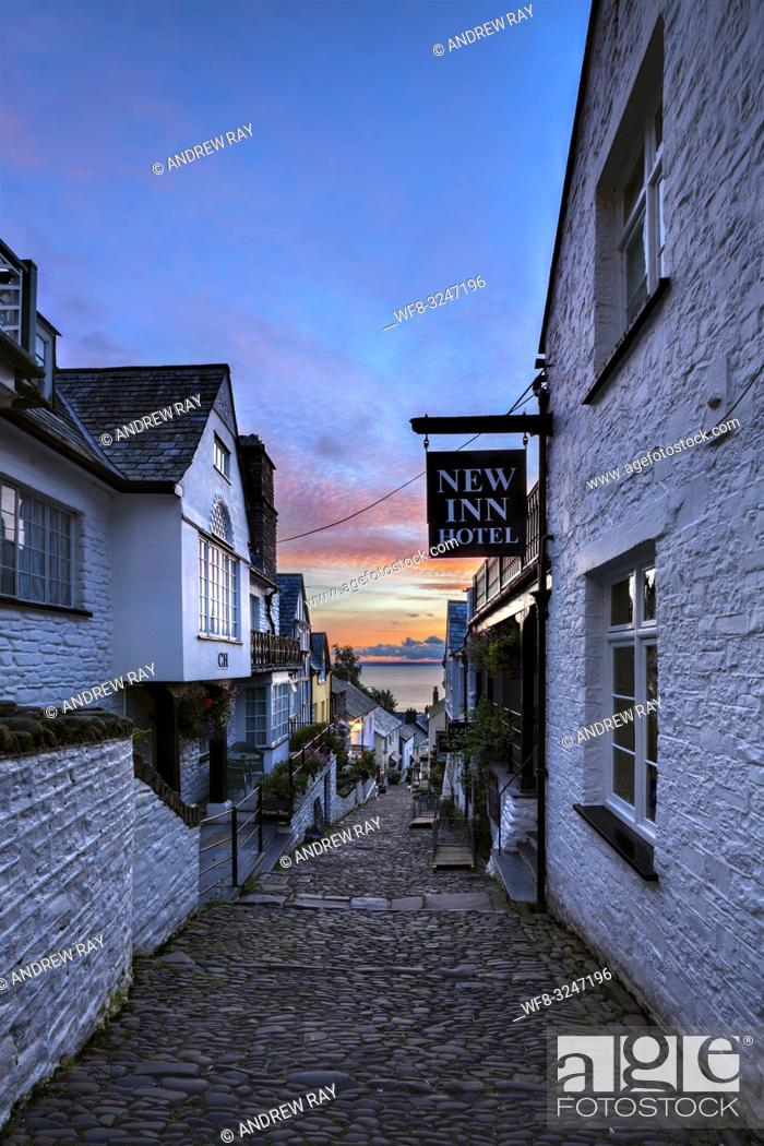 Stock Photo: The main street at Clovelly on the North Coast of Devon captured at sunrise in early July.