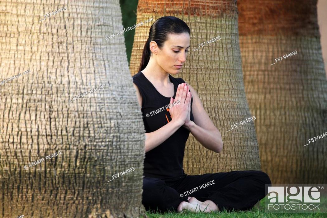 Stock Photo: Woman meditating.