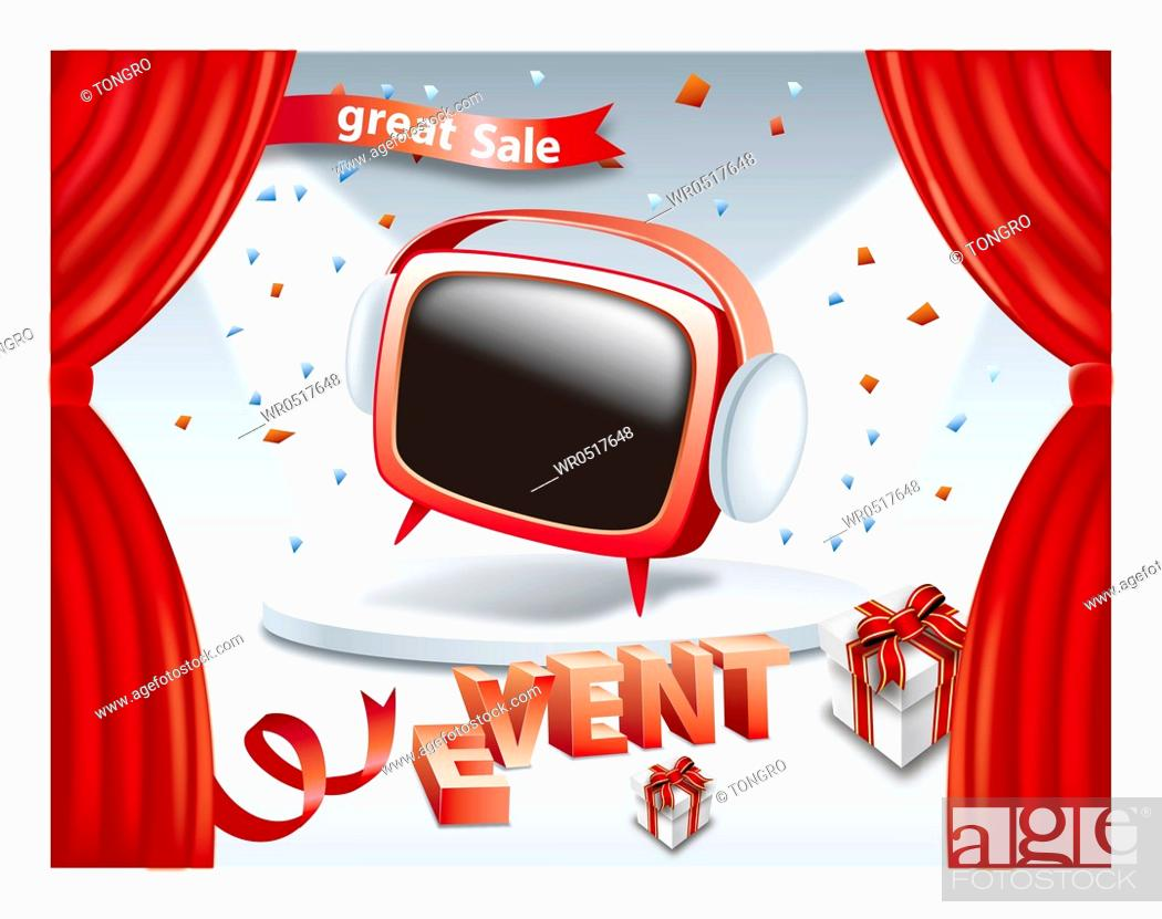 Stock Photo: Great sale and event promotion with red TV on stage.