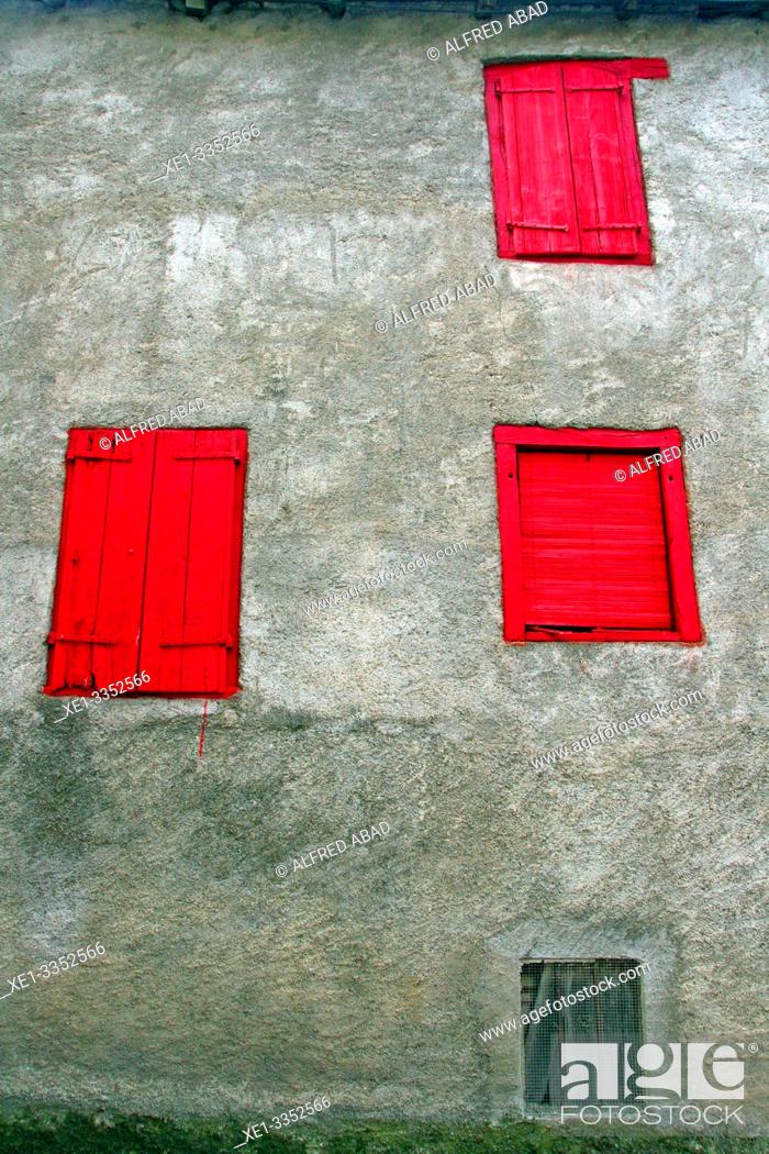 Stock Photo: shutters and red windows, Les, Val d'Aran, Catalonia, Spain.