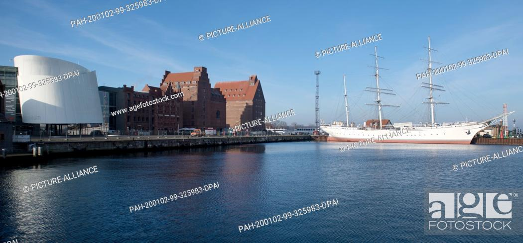 """Stock Photo: 02 January 2020, Mecklenburg-Western Pomerania, Stralsund: The sailing ship """"""""Gorch Fock I"""""""" lies in the harbour of Stralsund."""