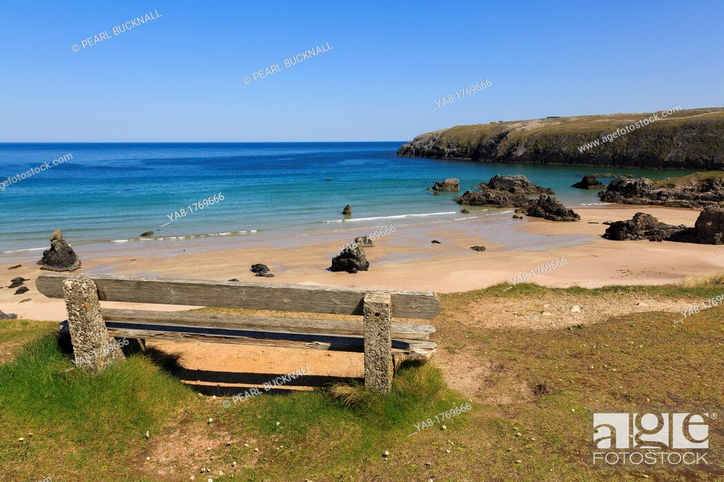 Stock Photo: Sango Bay, Durness, Sutherland, Highland, Scotland, UK, Britain, Europe  Empty bench overlooking the beach of golden sands and turquoise sea on scenic Scottish.