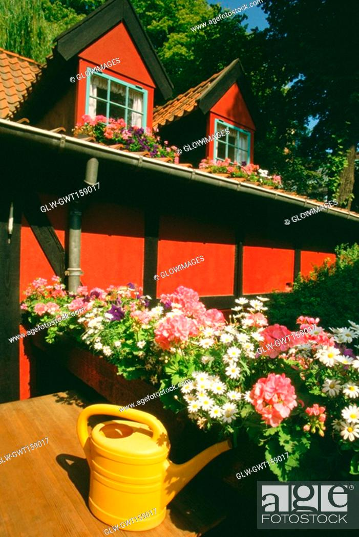 Stock Photo: Flowers in front of a restaurant, Tivoli Gardens, Copenhagen, Denmark.