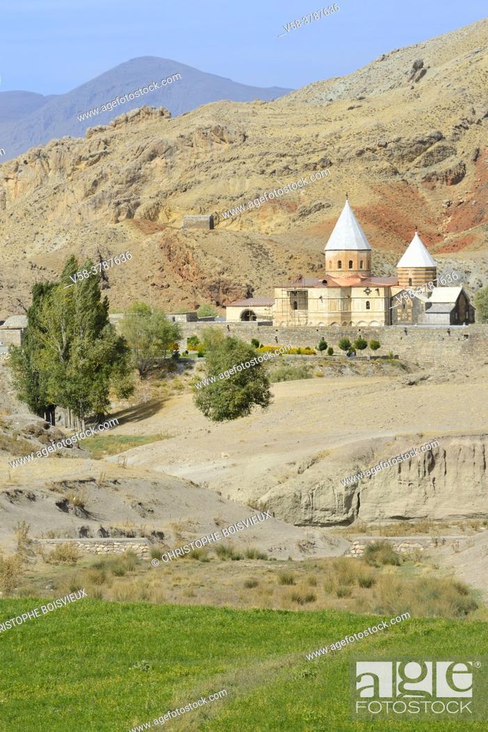 """Stock Photo: Iran, West Azerbaijan province, Unesco World Heritage Site, Saint Thaddeus monastery (also known as Qara Kilise, the """"""""Black Church"""""""")."""