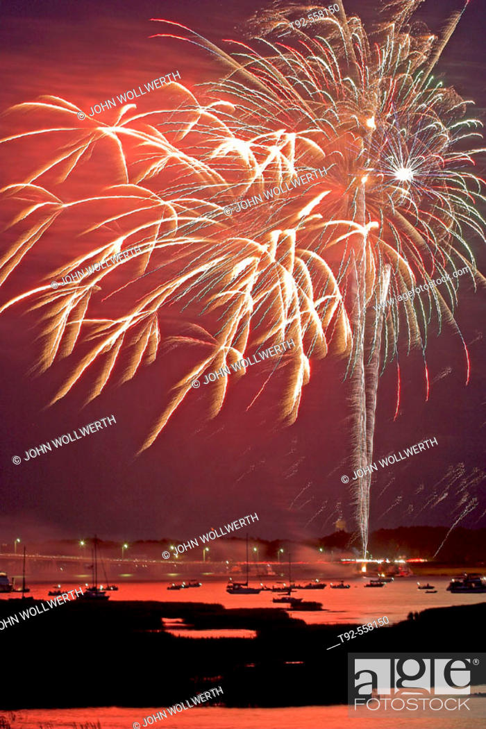 Stock Photo: Fireworks reflecting on the water, Beaufort. South Carolina. USA.